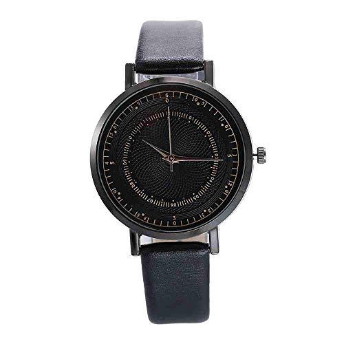 WMYATING Reloj de pulsera exquisito, hermoso, elegante, clásico y tempera, minimalista, informal, para mujer, línea de moda, escolar, correa de temperamento, reloj de cuarzo (color: negro)