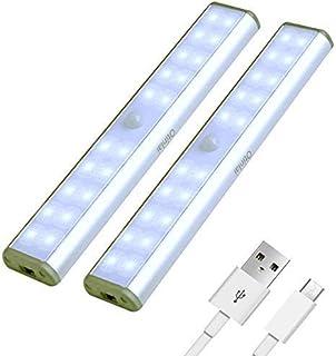 Under Cabinet Lights, 20 LED Motion Sensor Lights, Night Light,Led Battery Lights,Motion Led Light Bar, USB Rechargeable M...