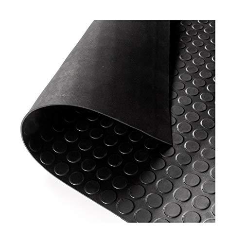 Suelo de caucho circulos. Metreado 2 m ancho Precio por metro lineal negro
