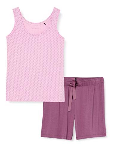 Schiesser Damen Anzug Kurz Zweiteiliger Schlafanzug, Rot (pink 504), 46 (Herstellergröße:046)