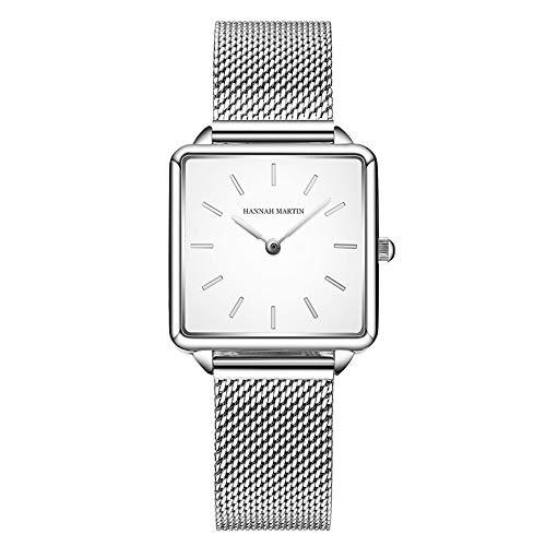 Relojes de Cuarzo Mujeres Dial Cuadrado Casual Business Reloj de Pulsera de Malla de Acero Inoxidable Rose Gold/Silver (Silver)