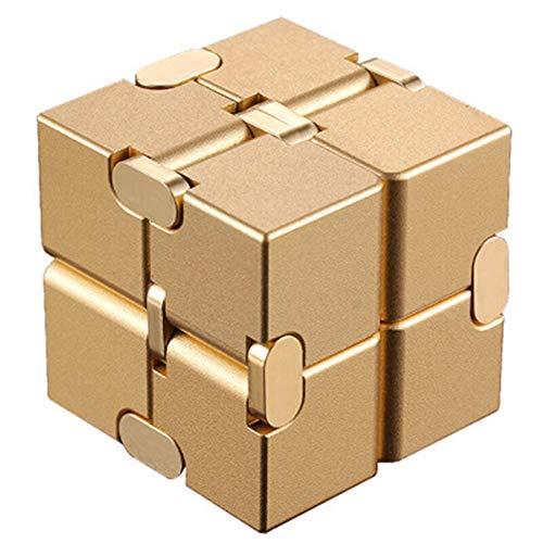 GZYM Juguete de Regalo el Cubo de Rubik Infinito Rompecabezas del Cubo de descompresión Creativo aleación de Aluminio de Color Cubo de Rubik Infinita descompresión de Rubik,Oro