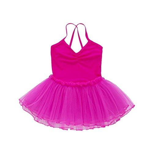 Toddler Baby Girls V Neck Strap Ballet Tutu Slim Dress Solid Sleeveless Tank Top Leotard Dance Gymnastics Skirted 1-6 Years (Hot Pink, 5T)