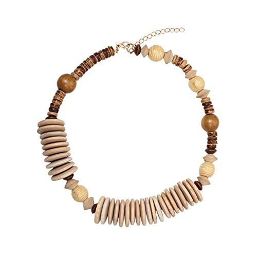 Cadena de clavícula de madera hecha a mano con cuentas geométricas pieza de madera bola de costura retro collar