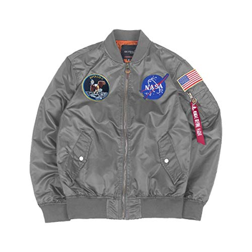 CORIRESHA Mens Apollo NASA Patches Slim Fit Bomber Jackets Windbreaker Gray