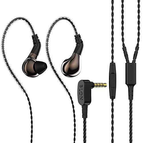 HiFiHear BLON BL03 in Ear Earphone,10mm Carbon Diaphragm Dynamic Drive Bass HiFi DJ in Ear Monitor, Diamond Mirror Process in Ear Headphone with Detachable Cable Wired Earphone(Gun with Mic)