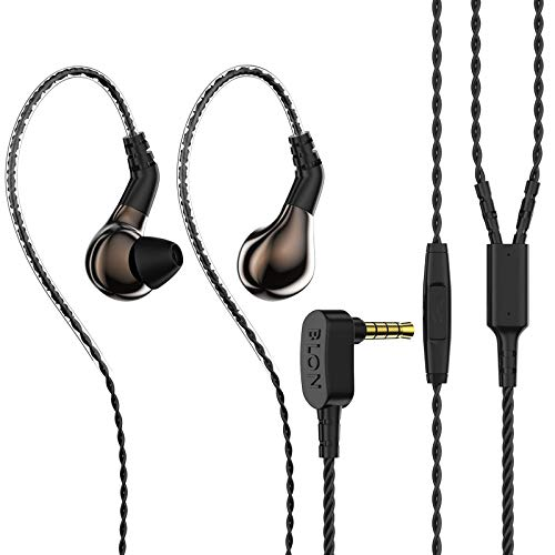 BLON 03 in Ear Earphone,10mm Carbon Diaphragm Dynamic Drive Bass HiFi DJ in Ear Monitor, Diamond Mirror Process in Ear Headphone with 2pins Detachable Cable Wired Earphone(Brown with Mic)