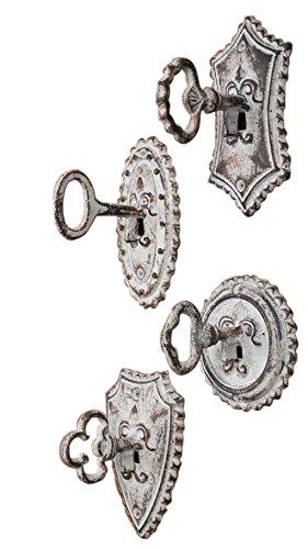 Red Co. Vintage Oversized Key and Lock Hooks, Set of 4 - Cottage Style