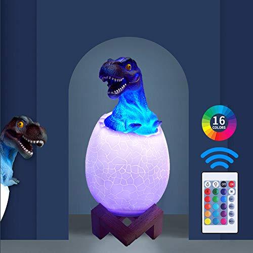 Lampada di dinosauro -USB ricaricabile luce notturna bambini, 16 colori lampada dinosauro 3D con 4 modalità e base in legno, uovo di dinosauro giocattolo regali per bambini (Tirannosauro)