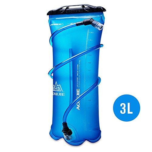AONIJIE 1.5L/2L/3L Faltbares TPU Wasserbeutel Trinkblase Trinkbeutel mit Schlauch und Mundstück für Marathon Running Wandern (3L)
