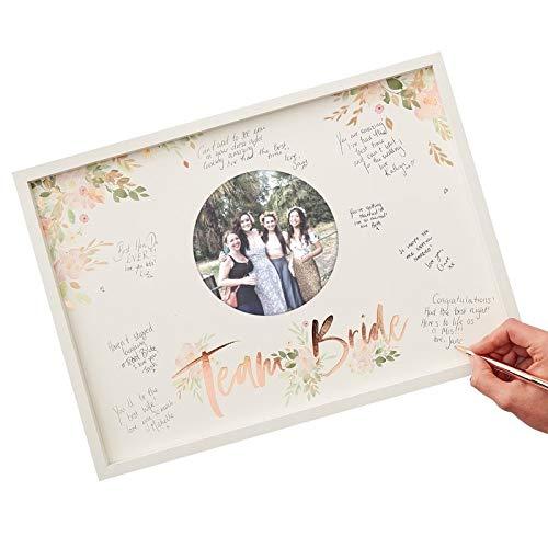 Gäste-Buch-Alternative Holz-Rahmen 'TEAM BRIDE' Weiß & Rosé-Gold Kupfer - Gäste-Buch...