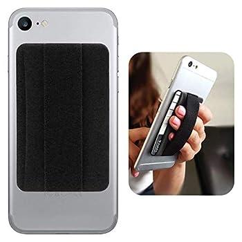 Premium Card Holder Stick on Wallet Works for Samsung SM-J120F with Room for 3 Cards & Secure Carry Strap  Black