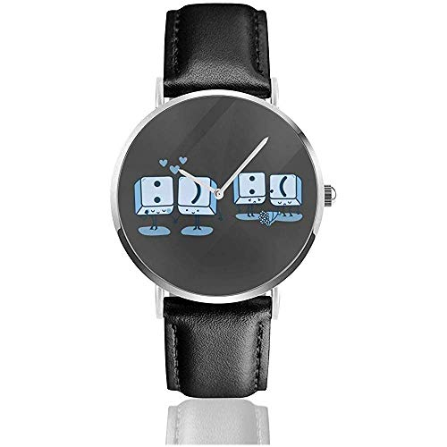 Unisex Business Casual Tasten Emoji Uhren Quarz Leder Uhr