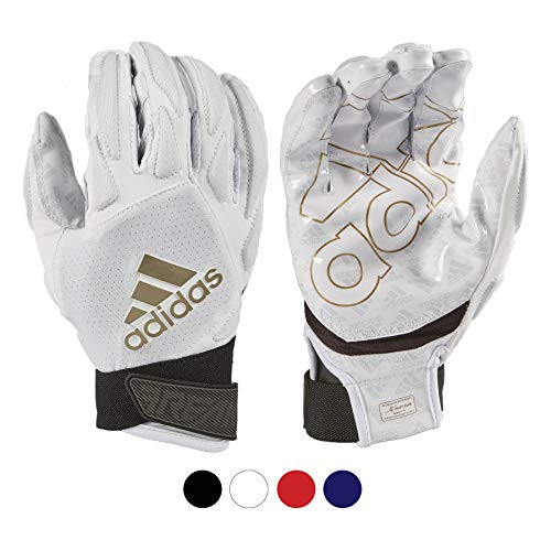 adidas Freak 4.0 Padded Receiver Football Gloves, Large, White - Durable, Premium Football Gear and Equipment