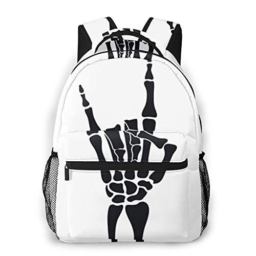 Rucksack Freizeit und Ausflüge Damen Herren Mädchen, Campus Kinderrucksack, Daypack Tagesrucksack für Schule, Sportrucksack, Tablet Tasche Rock Skeleton Heavy Metal