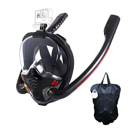 HJKB Full Face Snorkel Mask with Anti-Fog Wipes, 180 Degree Panoramic HD View Snorkeling Mask, Anti-Leak Dry Top Set for Adults and Kids (Black, L/XL)
