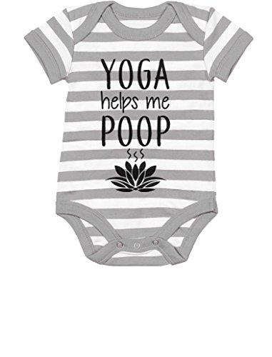 Tstars - Yoga Help Me Poop Funny Yoga Lovers ZEN Baby Body, Cinza/branco, 6M (3-6M)