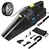4-in-1 Car Vacuum Cleaner,Tire Inflator Portable Air Compressor with Digital Tire Pressure Gauge LCD Display and LED Light,12V DC 150PSI Air Compressor Pump,HEPA Filter and Nozzles