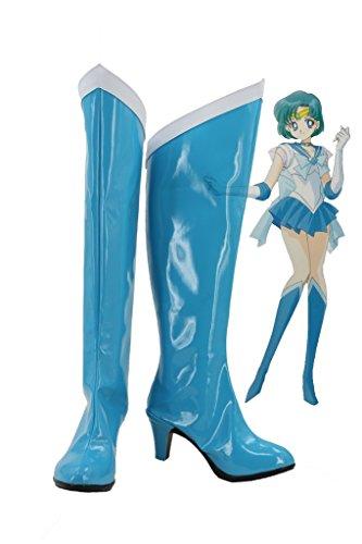 Telacos Sailor Moon Sailor Mercurio Mizuno Ami Cosplay Zapatos Botas Fabricada a Medida Azul