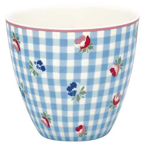GreenGate - Tasse, Latte Cup - Viola - Check Pale Blue - Porzellan - 300 ml