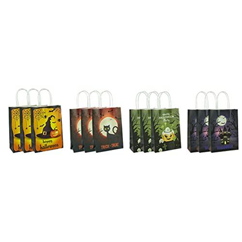 IMIKEYA 12 Pzas Bolsas de Papel Fantasma Calabaza Castillo Gato Bolsa de Caramelo Compras de Comestibles Bolsas por Menor Embalaje de Regalo Contenedor con Asa para Tienda en Casa