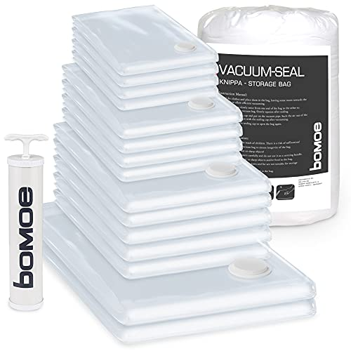 bomoe bolsas vacio ropa + bomba manual Knippa - Set de 15 bolsas (4XS, 4S, 5M, 2XXL) - Bolsas para envasar al vacío - almacenaje ropa - reutilizable - bolsas para guardar ropa - organizador
