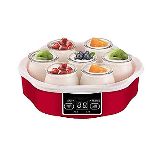 WCJ Household Piccolo Mini Macchina Yogurt Automatica, Touch Screen Intelligente Yogurt Contenitore Attrezzi Fai da Te Automatico con vasetti di Vetro temporizzatore 7
