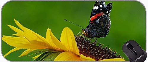 Mousepad grande con tela con textura premium, mariposas en el jardín mariposa alas de plumas oficina alfombrilla de ratón