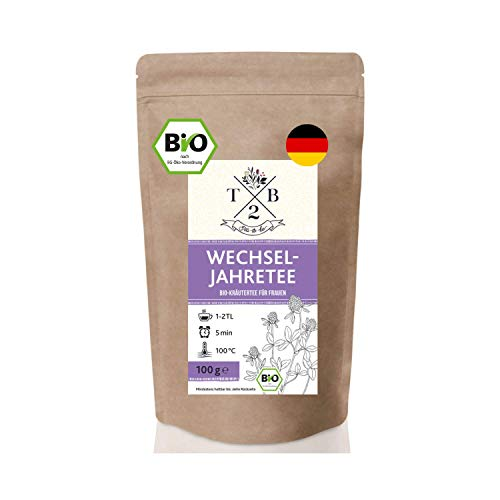 Wechseljahre Tee in Bio-Qualität zu Menopause und Hitzewallungen mit Rotklee, 100g (ca. 40 Tassen) - Tea2Be by Sarenius