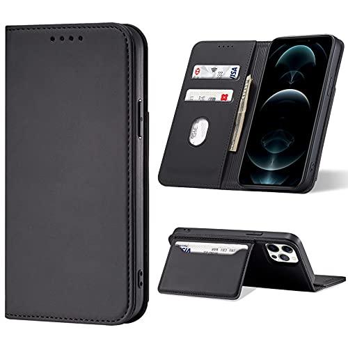 Leathlux Funda para iPhone 12 Pro MAX Soporte Plegable Carcasa Magnética Tarjetero Tapa de Cuero Case Compatible con iPhone 12 Pro MAX Negro