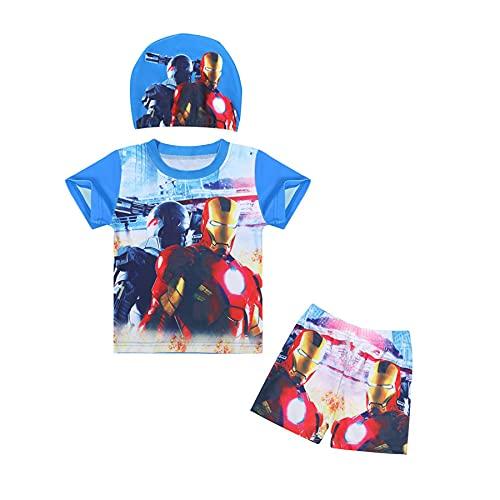 MYYLY Cosplay Spiderman Enfant Maillot Bain Enfants Natation Protection Solaire Costume Avenger Garçon Dessin Manches Courtes Surfsuit Fille Rash Guard Vacances Plage,Blue-XL Kids (130~140CM)