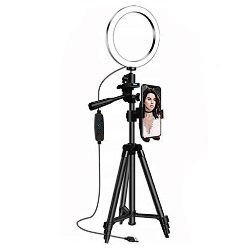 Makeup Ring Light-LED Ring Light -Makeup Mirror Fill Light Mirror Front Light-Ring Light 16Cm With Tripod Stand Cell Phone Holder- USB 3 Modes LED Light-for Youtube Video, Makeup, Photography (L)