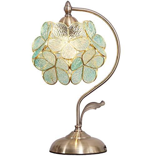 Bieye L30733 Lampada da tavolo in vetro colorato stile Tiffany in ciliegio con base in ottone vintage paralume largo 21 cm, altezza 42 cm (Blu chiaro trasparente)