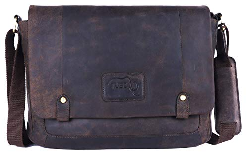 TUSC Charon Braun Leder Tasche Vintage Laptoptasche 15,6 Zoll 14 Zoll Herren Damen Unisex...