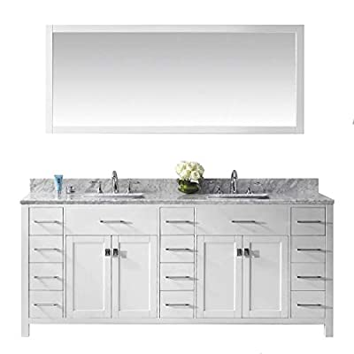 Virtu USA Caroline Parkway 78 inch Double Sink Bathroom Vanity Set in White w/Square Undermount Sink, Italian Carrara White Marble Countertop, No Faucet, 1 Mirror - MD-2178-WMSQ-WH