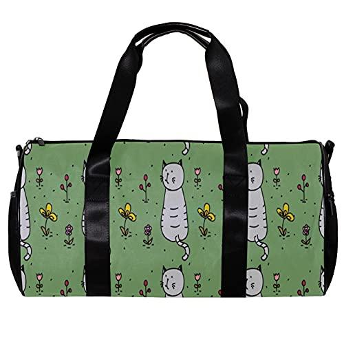 Borsone da palestra rotondo con tracolla staccabile grigio gatto in giardino floreale verde allenamento borsa per donne e uomini
