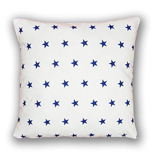 Amilian® Dekokissen Kissenbezug Kissen 80cm x 80cm Sternchen Blau auf weiß (A10)