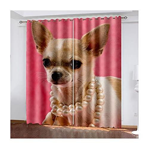 KnBoB Polyester Gardine 274x214CM Hund Tragen Perle Halskette Vorhänge Schlafzimmer Modern, Braun Rosa