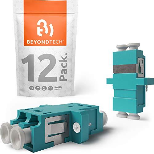 Beyondtech Glasfaserkoppler, LC auf LC-Kupplung, Multimode, UPC Duplex, horizontal, Farbe: Aqua (Buchse auf Buchse), 12 Stück