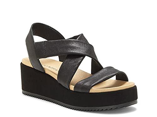 Lucky Brand Women's Waldyna Crisscross Leather Wedge Sandal, Black, 8 M US