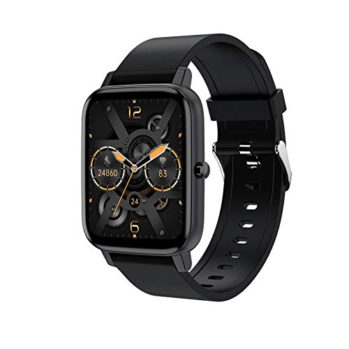 YFC Smart Watch H80 Männer Sport Fitness Tracker 1,69 Zoll Touchscreen Sport Armband wasserdichte Heart Rater Uhr Smart Watch Für iOS Android-Handy (Farbe : Schwarz)