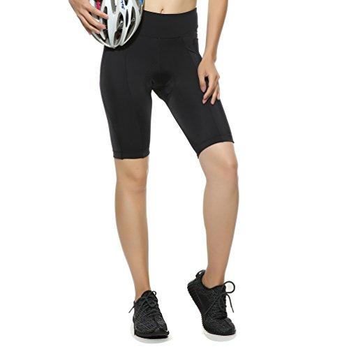4ucycling - Pantaloncini da ciclismo, da donna, con imbottitura UPF 50+, taglia XS, colore: Nero