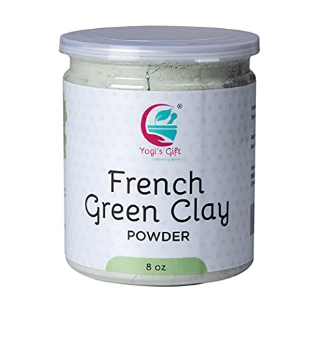 Yogi's Gift French Green Clay Powder 8 oz | Deep Facial Cleanser | For Skin Softening and Face Care | Natural Detoxifies Body | Argile Verte | Montmorillonite Clay | Illite Green Clay.