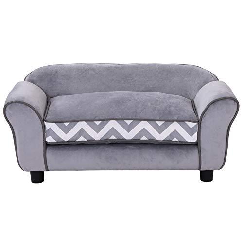 Pawhut Canapé Chien Chat sur Pied Style Graphique Contemporain Coussin Amovible Lavable Grand Confort 74L x 41l x 33H cm Gris Blanc