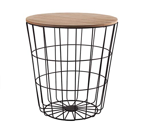 BigDean Design-Beistelltisch schwarz/braun - Metallkorb mit Holzdeckel - Dekorativer Sofatisch inkl. Korbablage - Mit Stauraum - Ideal für Wohnzimmer, Schlafzimmer, Esszimmer & Flur