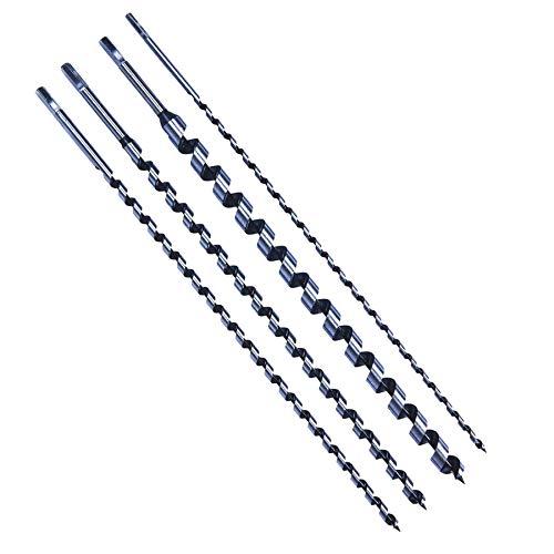 Dapetz  4Pc 600mm Long Auger Drill Bit Set Hex Shank 8mm - 24mm Wood Drilling