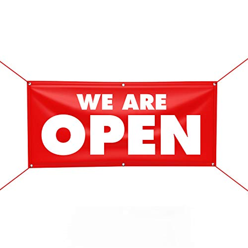 "We are Open Banner Sign, 13 oz Heavy Duty Waterproof We are Open Vinyl Banner with Metal Grommets, Large 3x6ft, Made in USA (36"" x 72"")"