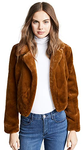 [BLANKNYC] Blank Denim Women's Cropped Faux Fur Jacket, Milk Chocolate, Brown, Tan, X-Small
