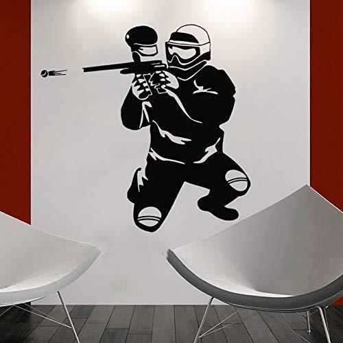 Paintball Spieler Silhouette Sport Wand Vinyl Aufkleber Home Design Wanddekoration Jungen Schlafzimmer Wandkunst Poster Vinilos Paredes 56X56Cm