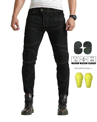 GELing Herren Motorradrüstung Biker Motorrad Denim Hose Jeans Horn Cargo ,Schwarz,XS